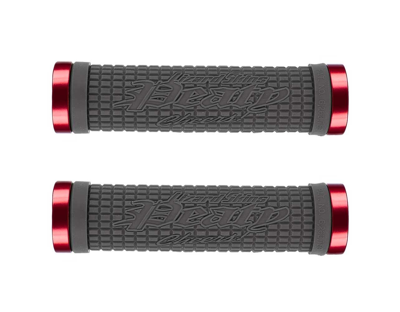 LIZARD SKINS PEATY LOCK-ON GRAPHITE//RED BLACK MTB BICYCLE GRIPS